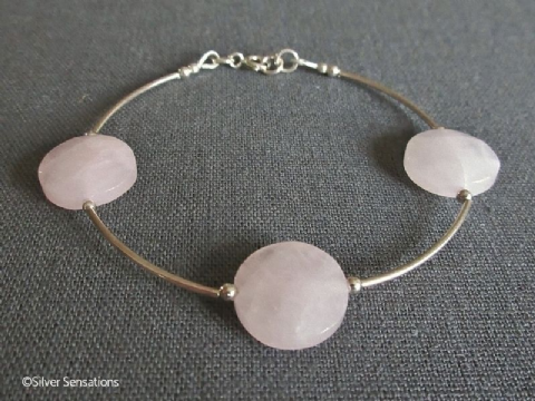 Pink Rose Quartz Faceted Coin Beads & Sterling Silver Curves Bracelet